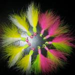 1/16 oz. Acid rain and Electric Chicken Marabou jigs. Glow in the dark heads.