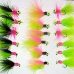1/16 oz and 1/32 oz Marabou jigs with a #4 sickle hook.  Three of my favorite patterns to fish.